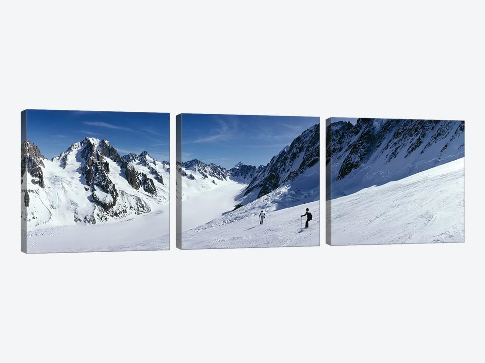 Rear view of two people skiing, Les Grands Montets, Chamonix, France by Panoramic Images 3-piece Canvas Print