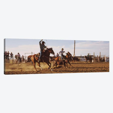 Cowboys Roping A Calf, North Dakota, USA Canvas Print #PIM12256} by Panoramic Images Canvas Print