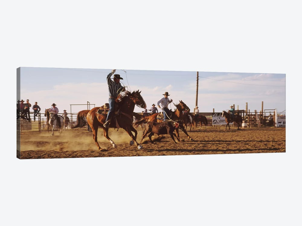 Cowboys Roping A Calf, North Dakota, USA by Panoramic Images 1-piece Canvas Wall Art