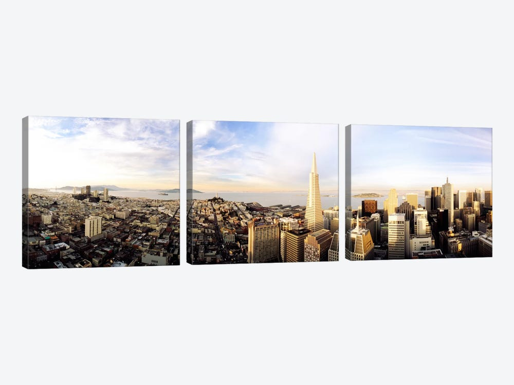 High angle view of a cityTransamerica Building, San Francisco, California, USA by Panoramic Images 3-piece Canvas Art Print