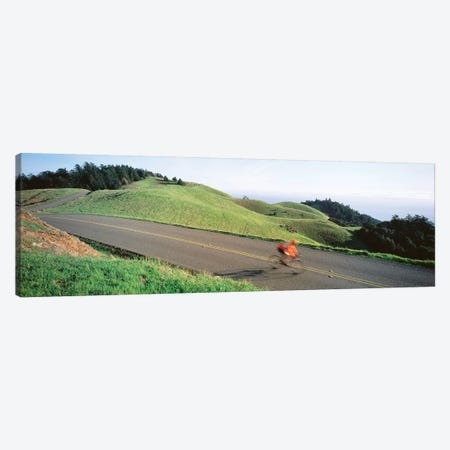 High Angle view of Man riding a bicycle, Bolinas Ridge, Marin County, California, USA Canvas Print #PIM12275} by Panoramic Images Art Print