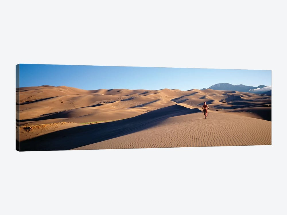 Close up of Woman running in the desert, Great Sand Dunes National Monument, Colorado, USA by Panoramic Images 1-piece Canvas Art