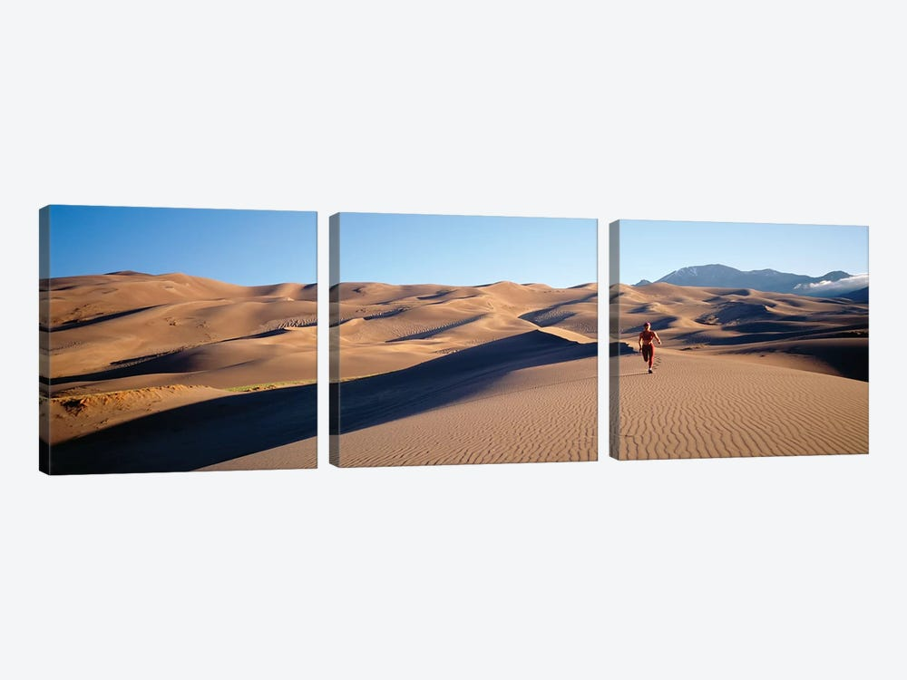 Close up of Woman running in the desert, Great Sand Dunes National Monument, Colorado, USA by Panoramic Images 3-piece Canvas Artwork