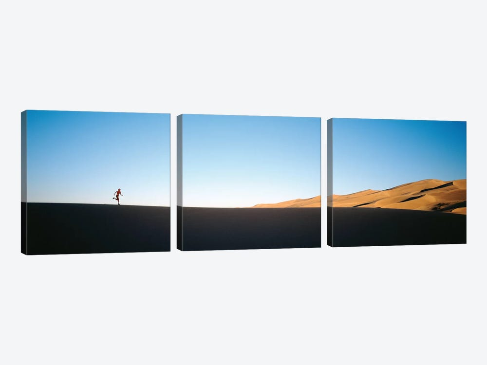 Low angle view of a woman running in the desert 2, Great Sand Dunes National Monument, Colorado, USA by Panoramic Images 3-piece Canvas Art