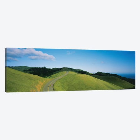 High Angle View Of Two People Cycling On The Road, Marin County, California, USA Canvas Print #PIM12289} by Panoramic Images Art Print