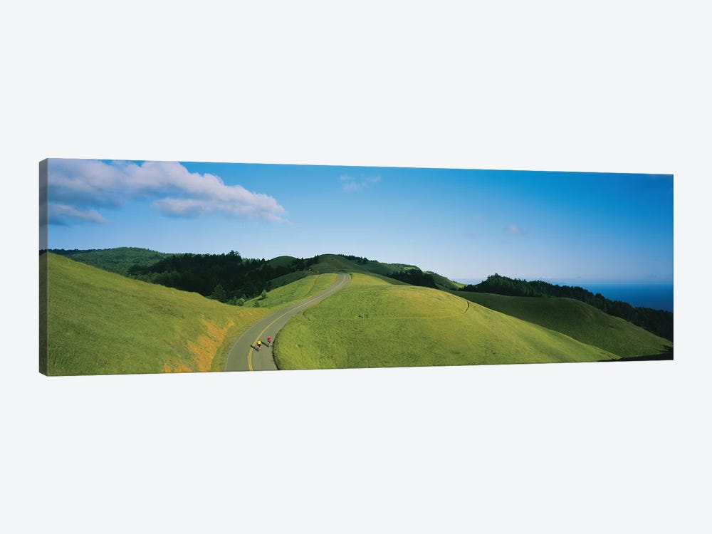 High Angle View Of Two People Cycling On The Road, Marin County, California, USA by Panoramic Images 1-piece Canvas Wall Art