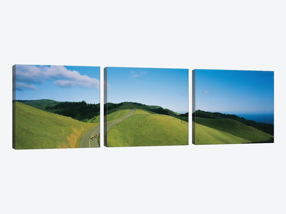 High Angle View Of Two People Cycling On The Road, Marin County, California, USA by Panoramic Images 3-piece Canvas Artwork