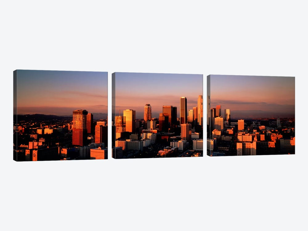 Skyline At Dusk, Los Angeles, California, USA by Panoramic Images 3-piece Canvas Print