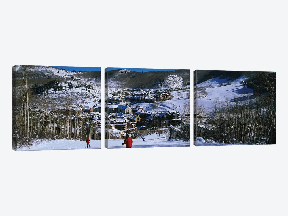 Skiers skiing, Beaver Creek Resort, Colorado, USA by Panoramic Images 3-piece Canvas Art Print