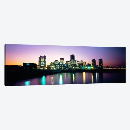Buildings lit up at dusk, Boston, Suffolk County, Massachusetts, USA Canvas Print #PIM1230} by Panoramic Images Canvas Artwork