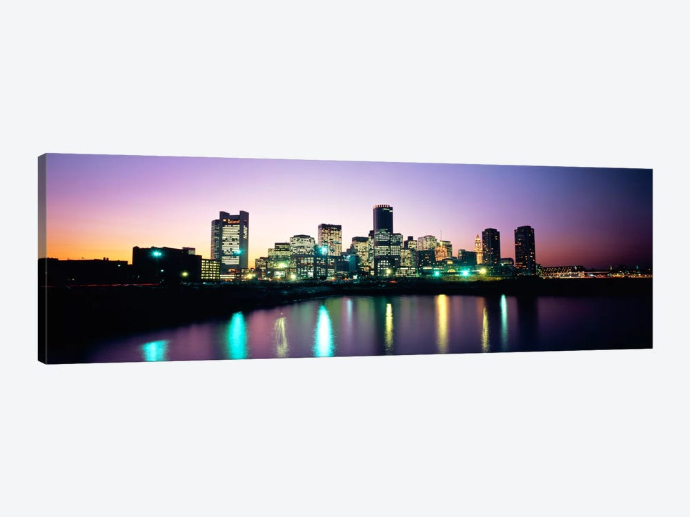 Buildings lit up at dusk, Boston, Suffolk County, Massachusetts, USA by Panoramic Images 1-piece Canvas Wall Art