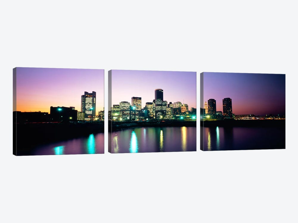 Buildings lit up at dusk, Boston, Suffolk County, Massachusetts, USA by Panoramic Images 3-piece Canvas Art