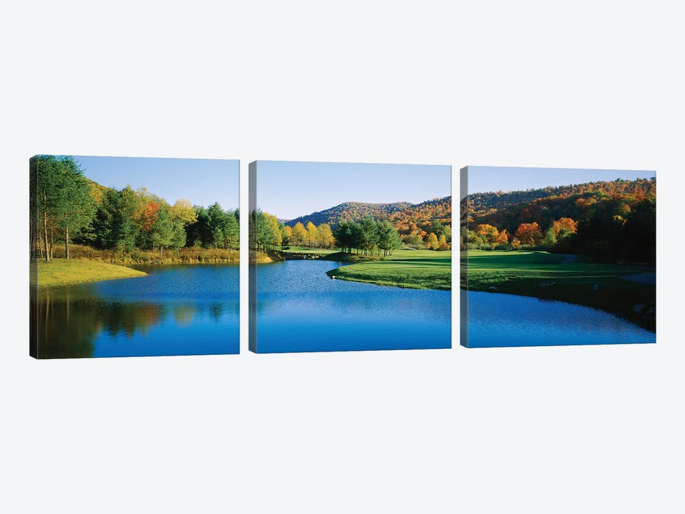 Lake on a golf course, The Raven Golf Club, Showshoe, West Virginia, USA by Panoramic Images 3-piece Canvas Wall Art
