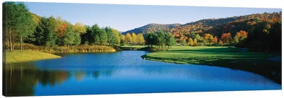 Lake on a golf course, The Raven Golf Club, Showshoe, West Virginia, USA Canvas Art Print