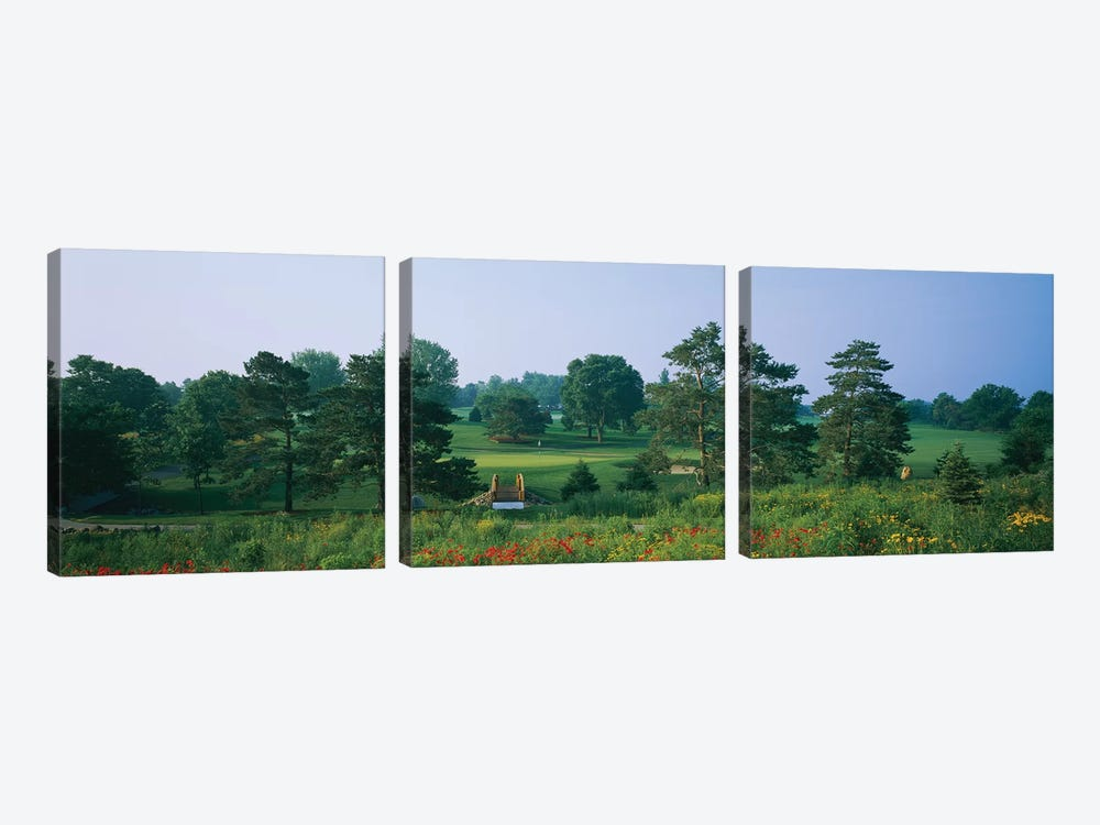 Trees on a golf course, Des Moines Golf And Country Club, Des Moines, Iowa, USA by Panoramic Images 3-piece Canvas Print