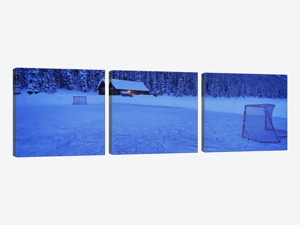 Makeshift Hockey Rink, Lake Louise, Alberta, Canada by Panoramic Images 3-piece Canvas Art Print