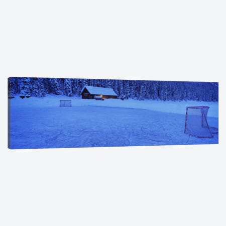 Makeshift Hockey Rink, Lake Louise, Alberta, Canada 3-Piece Canvas #PIM12350} by Panoramic Images Canvas Art Print