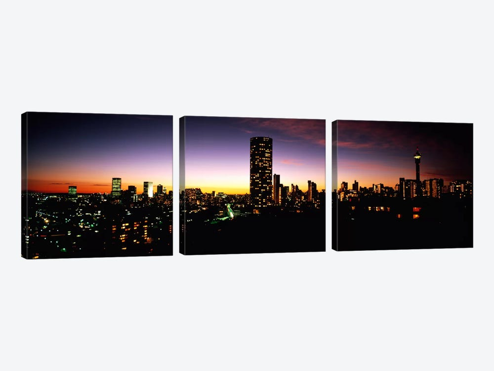 Downtown Skyline At Dusk, Johannesburg, Gauteng, South Africa by Panoramic Images 3-piece Art Print