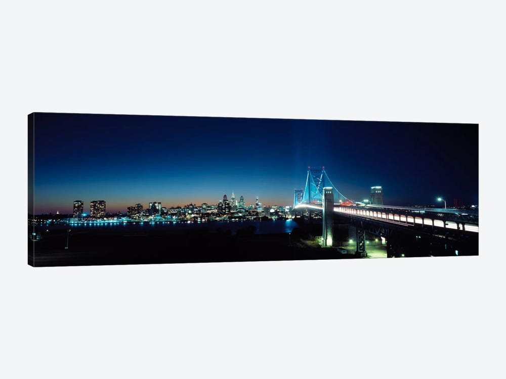 Bridge across a river, Delaware Memorial Bridge, Delaware River, Philadelphia, Philadelphia County, Pennsylvania, USA by Panoramic Images 1-piece Canvas Art
