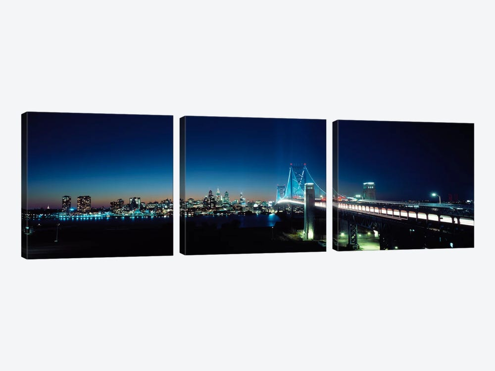 Bridge across a river, Delaware Memorial Bridge, Delaware River, Philadelphia, Philadelphia County, Pennsylvania, USA by Panoramic Images 3-piece Canvas Art