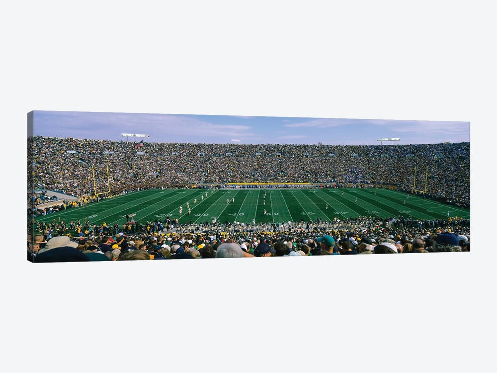 High angle view of spectators watching a football match from midfield, Notre Dame Stadium, South Bend, Indiana, USA 1-piece Canvas Art