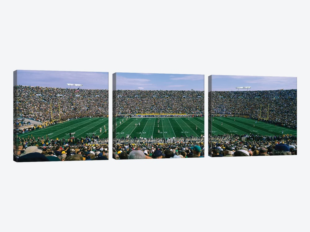 High angle view of spectators watching a football match from midfield, Notre Dame Stadium, South Bend, Indiana, USA by Panoramic Images 3-piece Canvas Art