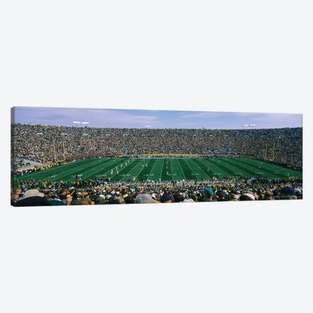 High angle view of spectators watching a football match from midfield, Notre Dame Stadium, South Bend, Indiana, USA 3-Piece Canvas #PIM12382} by Panoramic Images Canvas Art