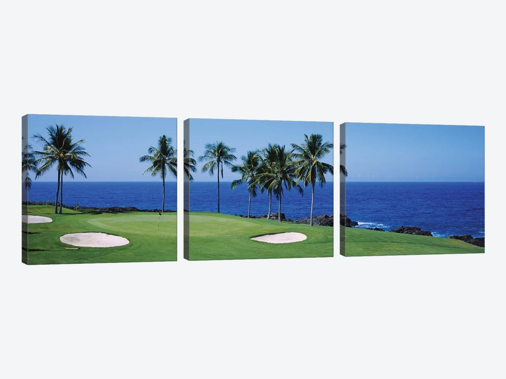 Golf course at the oceanside, Kona Country Club Ocean Course, Kailua Kona, Hawaii, USA by Panoramic Images 3-piece Art Print