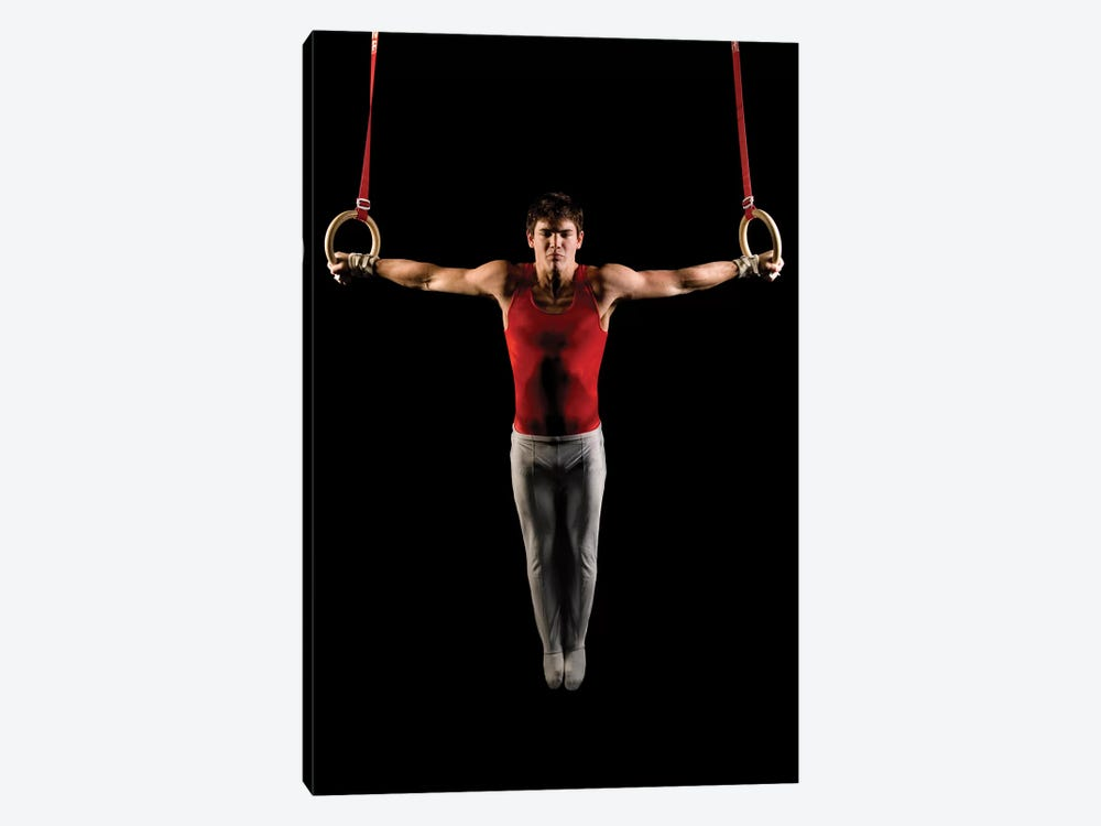 Young man exercising on gymnastic rings, Bainbridge Island, Washington State, USA by Panoramic Images 1-piece Canvas Art Print