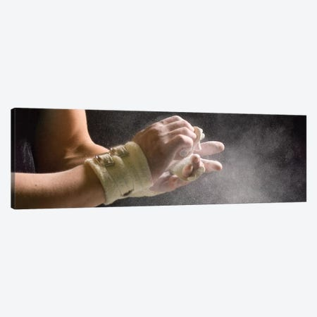 Male gymnast putting chalk on his hands 5, Bainbridge Island, Washington State, USA Canvas Print #PIM12397} by Panoramic Images Canvas Artwork
