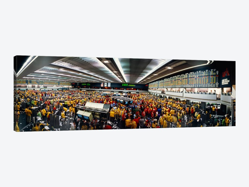Trading Floor Chaos, Chicago Mercantile Exchange, Chicago, Illinois, USA by Panoramic Images 1-piece Canvas Wall Art
