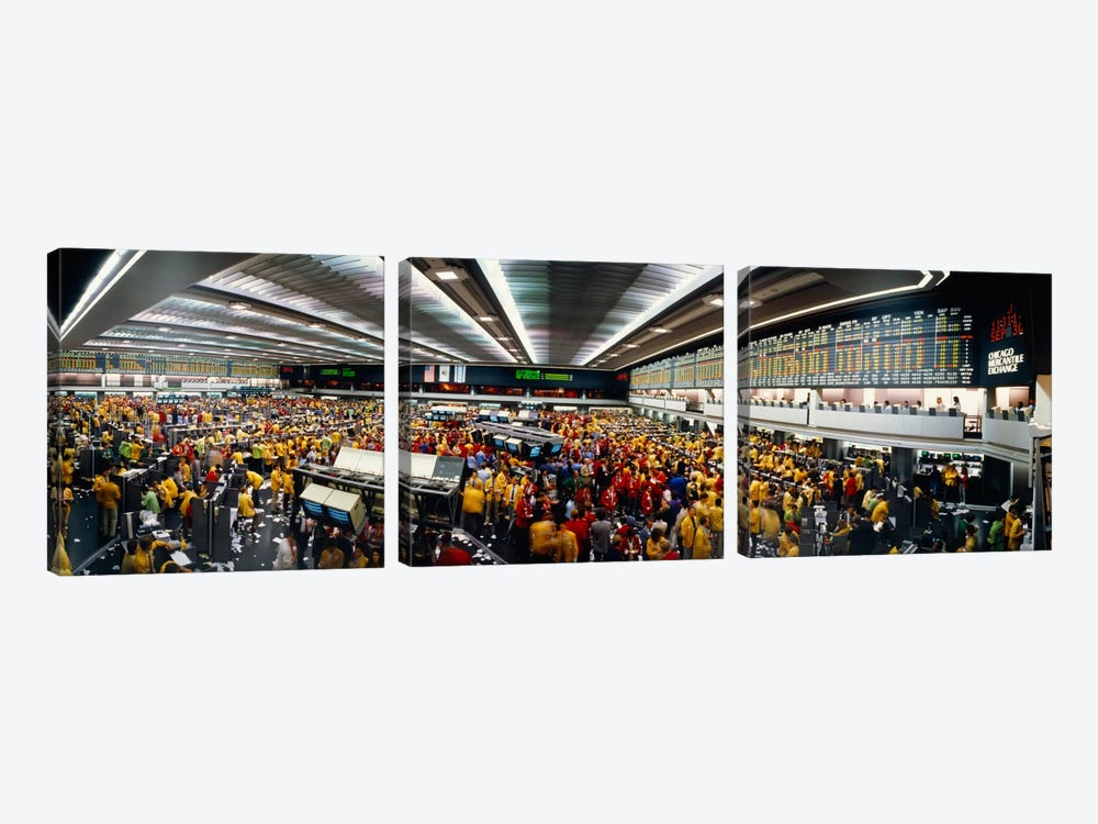 Trading Floor Chaos, Chicago Mercantile Exchange, Chicago, Illinois, USA by Panoramic Images 3-piece Canvas Art