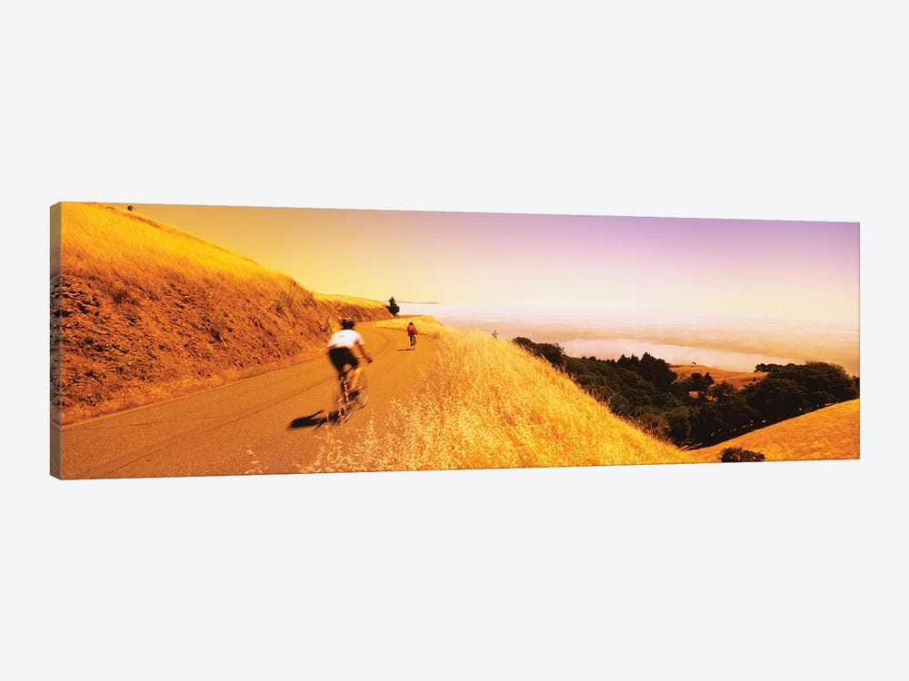 Cyclists on a road, Mt Tamalpais, Marin County, California, USA by Panoramic Images 1-piece Canvas Artwork