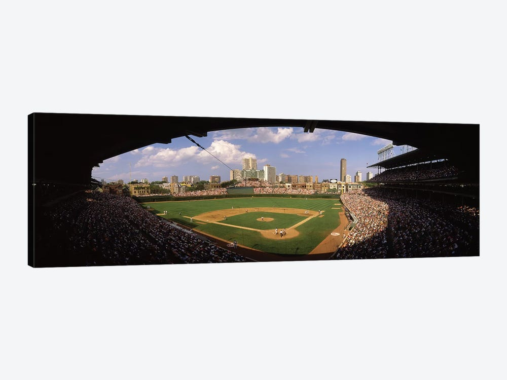 Spectators in a stadium, Wrigley Field, Chicago Cubs, Chicago, Cook County, Illinois, USA by Panoramic Images 1-piece Canvas Art Print