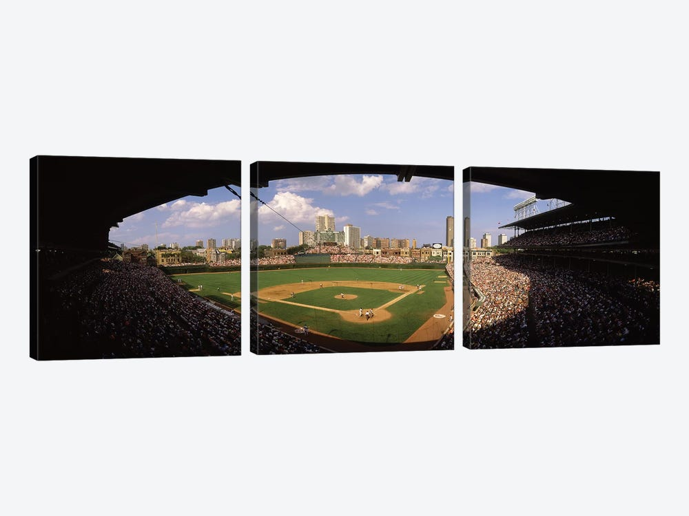 Spectators in a stadium, Wrigley Field, Chicago Cubs, Chicago, Cook County, Illinois, USA by Panoramic Images 3-piece Art Print