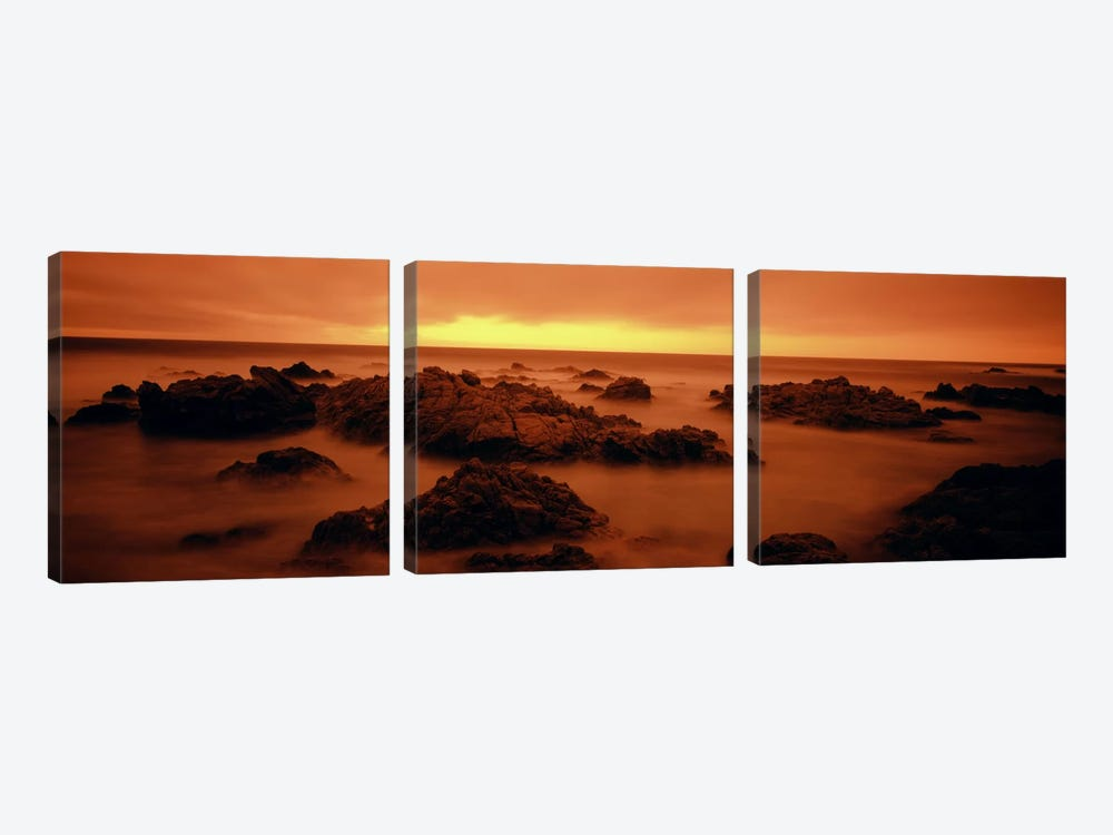 Foggy beach at dusk, Pebble Beach, Monterey County, California, USA by Panoramic Images 3-piece Art Print