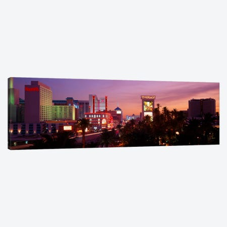 Casinos At Twilight, Las Vegas, Nevada, USA Canvas Print #PIM124} by Panoramic Images Canvas Wall Art