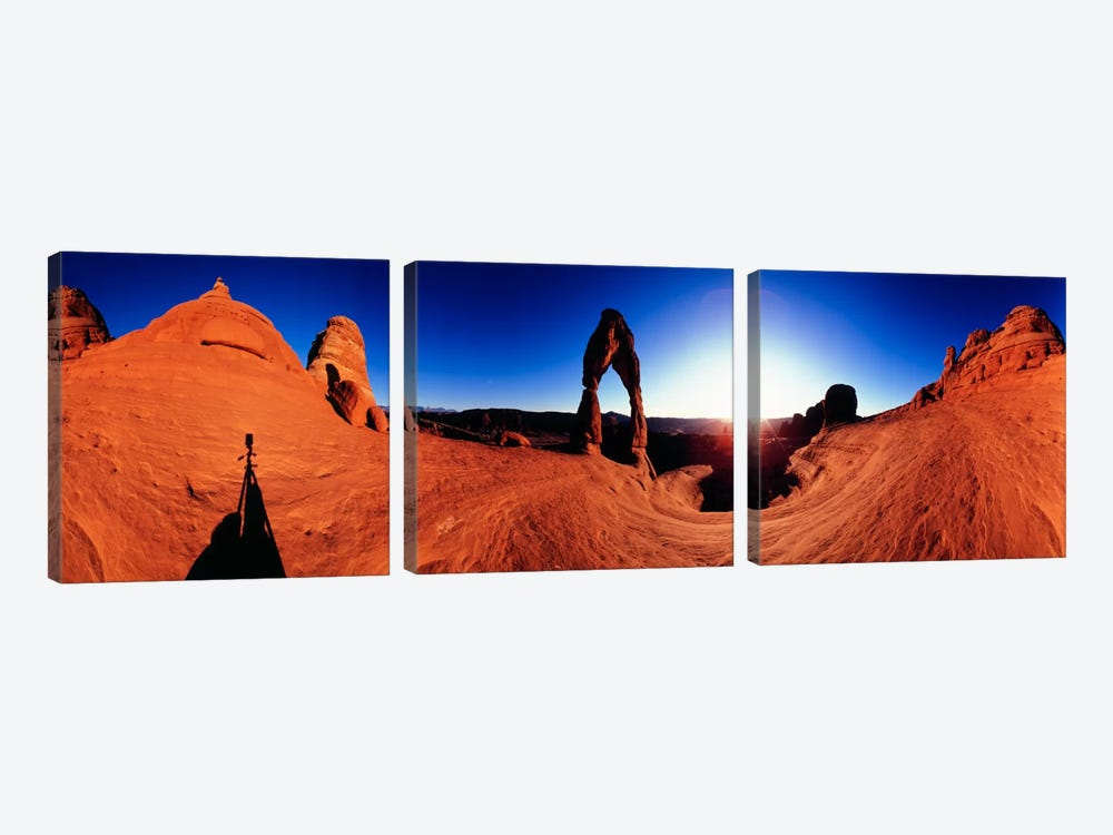 Delicate Arch At Sunrise, Arches National Park, Utah, USA by Panoramic Images 3-piece Canvas Wall Art