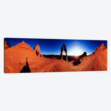 Delicate Arch At Sunrise, Arches National Park, Utah, USA 3-Piece Canvas #PIM1250} by Panoramic Images Canvas Artwork