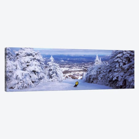 Lone Skier, Stratton Mountain Resort, Windham County, Vermont, USA Canvas Print #PIM12521} by Panoramic Images Canvas Art