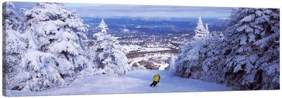 Lone Skier, Stratton Mountain Resort, Windham County, Vermont, USA Canvas Art Print