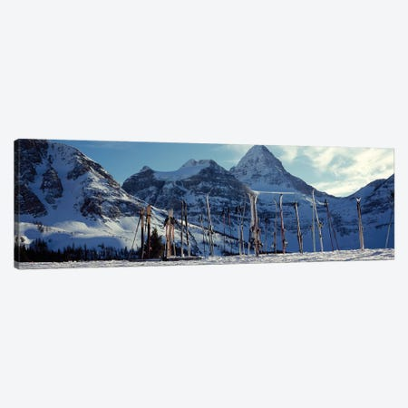 Skis and ski poles on a snow covered landscape, Mt Assiniboine, Mt Assiniboine Provincial Park, British Columbia, Canada Canvas Print #PIM12524} by Panoramic Images Canvas Art Print