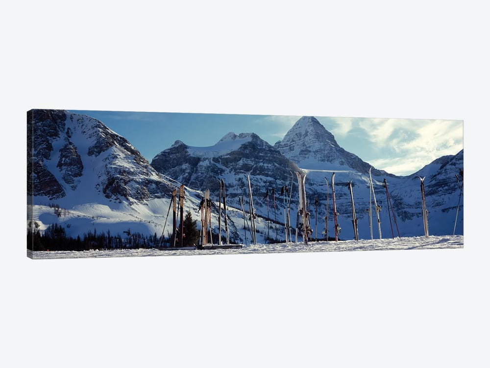 Skis and ski poles on a snow covered landscape, Mt Assiniboine, Mt Assiniboine Provincial Park, British Columbia, Canada by Panoramic Images 1-piece Canvas Artwork