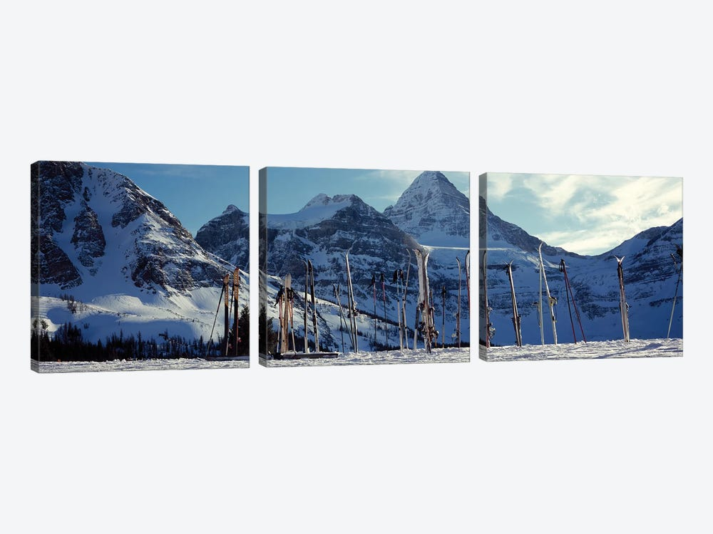Skis and ski poles on a snow covered landscape, Mt Assiniboine, Mt Assiniboine Provincial Park, British Columbia, Canada by Panoramic Images 3-piece Canvas Artwork