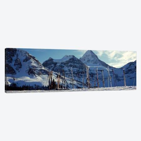 Skis and ski poles on a snow covered landscape, Mt Assiniboine, Mt Assiniboine Provincial Park, British Columbia, Canada Canvas Print #PIM12524} by Panoramic Images Canvas Art Print