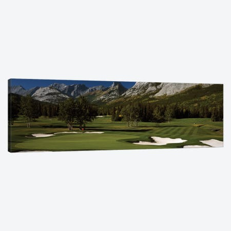 Double Green, Mt. Kidd Course, Kananaskis Country Golf Course, Kananaskis Country, Alberta, Canada Canvas Print #PIM12525} by Panoramic Images Canvas Print