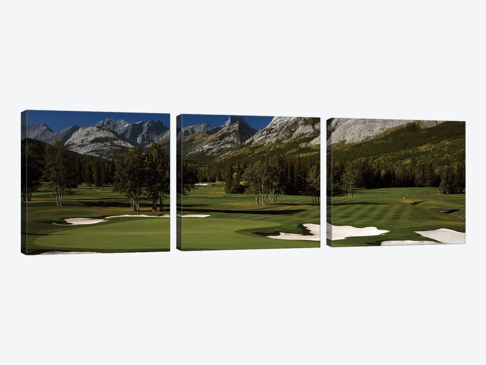Double Green, Mt. Kidd Course, Kananaskis Country Golf Course, Kananaskis Country, Alberta, Canada by Panoramic Images 3-piece Canvas Print