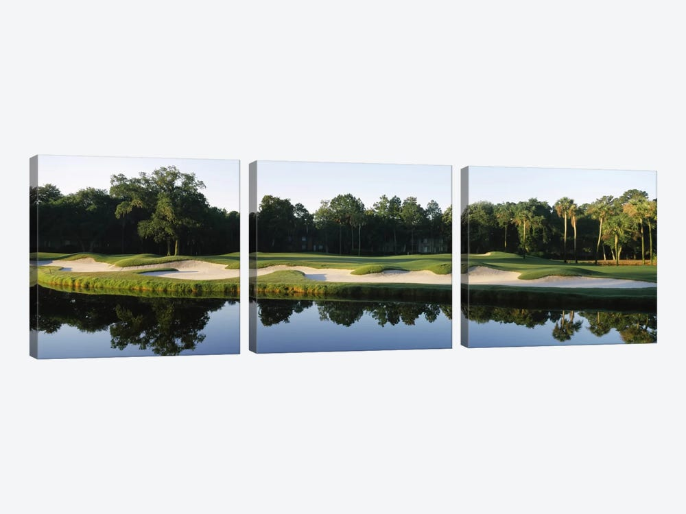 Lakeside Sand Trap, Kiawah Island Golf Resort, Charleston County, South Carolina, USA by Panoramic Images 3-piece Canvas Wall Art