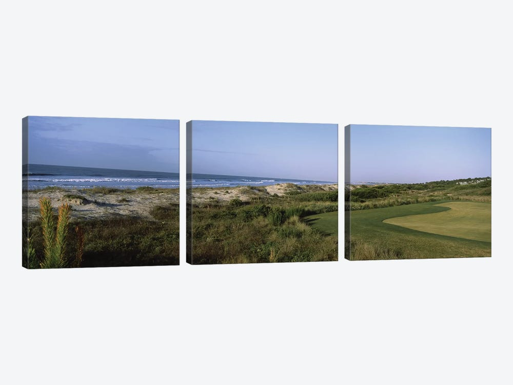 Golf course at the seaside, Kiawah Island Golf Resort, Kiawah Island, Charleston County, South Carolina, USA by Panoramic Images 3-piece Canvas Print