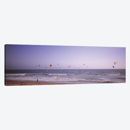 Kite surfers over the sea, Waddell Beach, Waddell Creek, Santa Cruz County, California, USA Canvas Print #PIM12539} by Panoramic Images Canvas Art Print